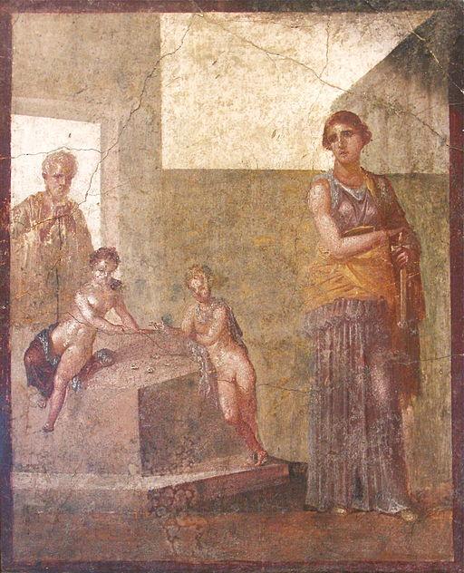 Médée médite de tuer ses enfants qui jouent aux astragales, Musée archéologique de Naples, Wikicommons