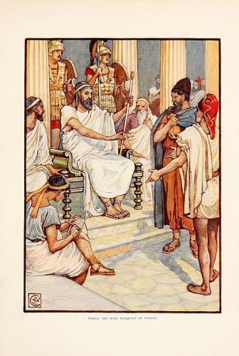 Solon législateur par W. Crane, dans le manuel anglais : L'histoire de la Grèce raconté aux enfants.