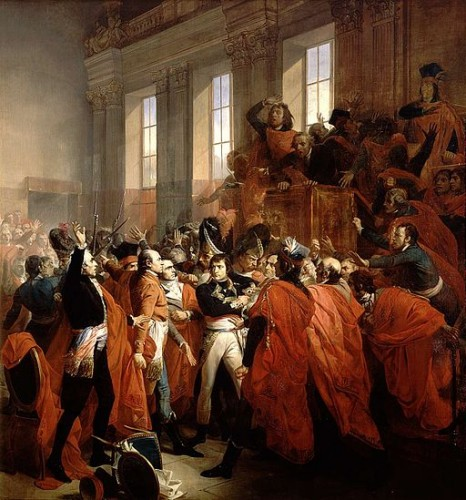 François Bouchot, Orangerie du parc de Saint-Cloud — Coup d'État des 18-19 brumaire an VIII — Le général Bonaparte au Conseil des Cinq-Cents, à Saint Cloud. 10 novembre 1799. musée du château de Versailles (Wikimedia)