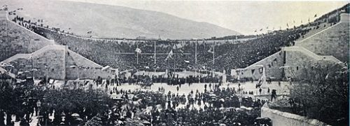 Le stade panathénaïque d'Athènes au premier jour des jeux olympiques d'Athènes en 1896